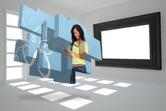 Composite image of student using tablet on abstract screen Stock Photo