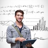 Composite image of student using tablet in library. Student using tablet in library against maths equations Royalty Free Stock Images