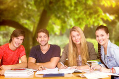 Composite image of students studying. Students studying against trees and meadow in the park Stock Photo