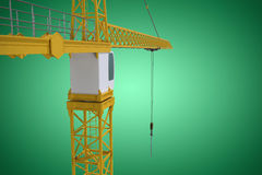 Composite image of studio shoot of a crane. Studio Shoot of a crane  against green vignette Stock Photo
