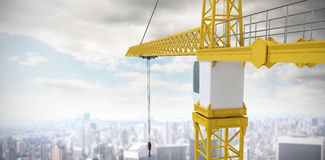 Composite image of studio shoot of a crane. Studio Shoot of a crane  against high angle view of city Stock Images