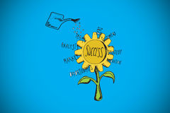Composite image of success sunflower doodle Stock Photography