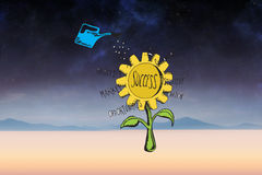 Composite image of success sunflower doodle Royalty Free Stock Image