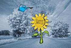 Composite image of success sunflower doodle Royalty Free Stock Photo