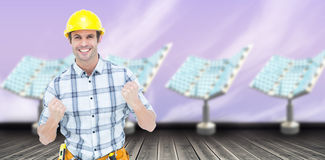 Composite image of successful technician celebrating victory 3d Stock Photography