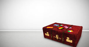 Composite image of suitcase with stickers Stock Image