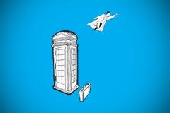 Composite image of superhero flying doodle Royalty Free Stock Photo