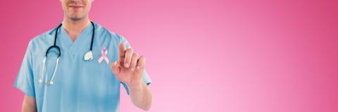 Composite image of surgeon pretending to be using futuristic digital screen. Surgeon pretending to be using futuristic digital screen against pink background Stock Photos