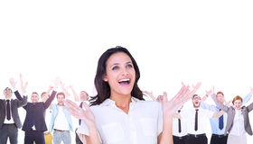 Composite image of surprised brunette with hands up Royalty Free Stock Photography