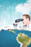 Composite image of surprised businessman looking through binoculars. Surprised businessman looking through binoculars  against blue sky Stock Images