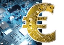 Composite image of symbol of euro sign currency. Symbol of euro sign currency against close up of circuit board royalty free stock photo