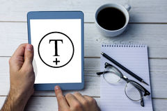 Composite image of t plus circle Royalty Free Stock Images