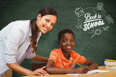 Composite image of teacher assisting boy with homework in library Stock Photo