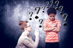 Composite image of teacher begging boy Stock Images