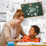 Composite image of teacher helping pupil. Teacher helping pupil against grey background Royalty Free Stock Photography