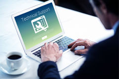 Composite image of technical support text with tool Royalty Free Stock Image