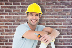 Composite image of technician holding pliers while leaning on ladder Royalty Free Stock Image