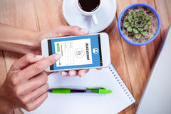 Composite image of telephone register application Stock Photo