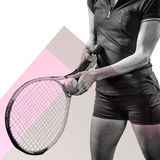 Composite image of tennis player holding a racquet ready to serve Royalty Free Stock Photos