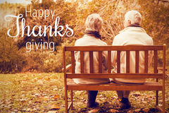 Composite image of thanksgiving greeting text. Thanksgiving greeting text against senior couple in the park Royalty Free Stock Photos