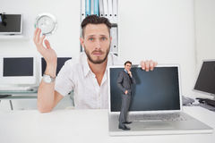 Composite image of thinking businessman Royalty Free Stock Photography