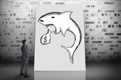 Composite image of thinking businessman. Against white card Stock Image