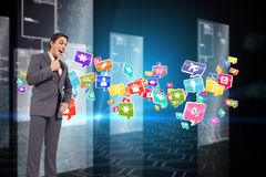 Composite image of thinking businessman with hand on chin Royalty Free Stock Photos