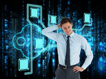 Composite image of thinking businessman with hand on head Royalty Free Stock Photos