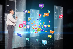 Composite image of thinking businessman holding pen Royalty Free Stock Images