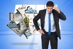 Composite image of thinking businessman scratching head Stock Photography