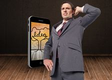 Composite image of thinking businessman scratching head Stock Photos