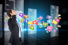 Composite image of thinking businessman scratching head Stock Images