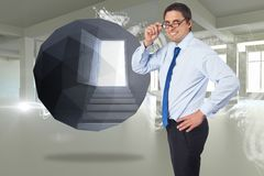 Composite image of thinking businessman tilting glasses Royalty Free Stock Photography
