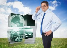 Composite image of thinking businessman tilting glasses Stock Image