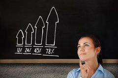 Composite image of thinking businesswoman looking upwards Stock Images