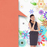 Composite image of thoughtful asian businesswoman with speech bubble Stock Photo