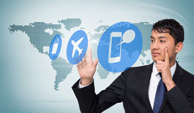 Composite image of thoughtful businessman touching. Thoughtful businessman touching against blue world map on white background Royalty Free Stock Photography
