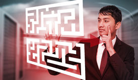 Composite image of thoughtful businessman touching Royalty Free Stock Images