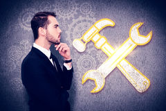 Composite image of thoughtful businessman touching his chin Royalty Free Stock Images