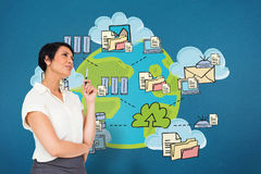 Composite image of thoughtful businesswoman stock photo