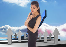 Composite image of thoughtful businesswoman Royalty Free Stock Image