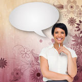 Composite image of thoughtful businesswoman with speech bubble Royalty Free Stock Photo