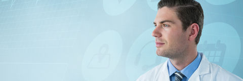 Composite image of thoughtful doctor in labcoat Stock Images