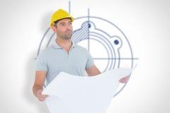 Composite image of thoughtful male architect holding blueprint Stock Photo