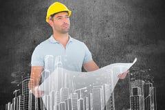 Composite image of thoughtful male architect holding blueprint Royalty Free Stock Photography