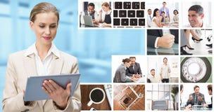 Composite image of thoughtful stylish businesswoman looking at tablet. Thoughtful stylish businesswoman looking at tablet against modern room overlooking city Royalty Free Stock Photos