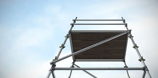 Composite image of three dimension image of scaffolding 3d. Three dimension image of scaffolding against blue sky with clouds 3d stock photography