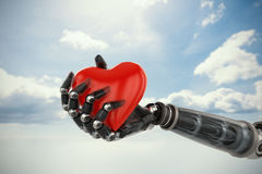 Composite image of three dimensional image of cyborg holding red heart shape decoration 3d Stock Image