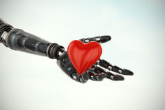 Composite image of three dimensional image of cyborg showing red heart shape  3d Stock Photography