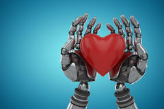 Composite image of three dimensional image of robot holding heart shape decoration 3d Stock Image